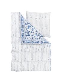 Dwustronna pościel z satyny bawełnianej Andrea, Niebieski, 240 x 220 cm + 2 poduszki 80 x 80 cm
