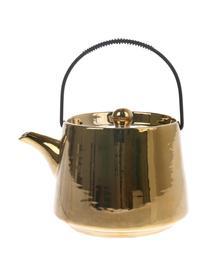 Teiera in ceramica fatta a mano Bold & Basic, 840 ml, Teiera: ceramica verniciata, Maniglia: acciaio, Dorato lucido Manico: nero, 840 ml