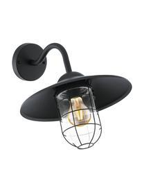 Außenwandleuchte Melgoa, Lampenschirm: Glas, Schwarz, 30 x 25 cm