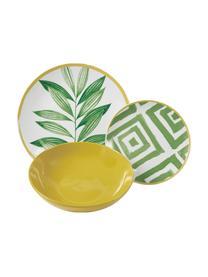 Set di piatti con motivo tropicale Botanique , 6 persone (18 pz.), Verde, bianco, giallo, Set in varie misure