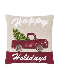 Housse de coussin 45x45 Noël Happy Holidays, Beige, rouge, vert