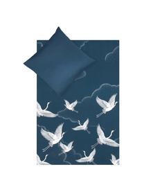 Baumwollsatin-Bettwäsche Yuma mit Kranichmotiv, Webart: Satin Fadendichte 210 TC,, Blau, Weiß, Grau, 240 x 220 cm + 2 Kissen 80 x 80 cm