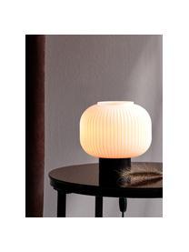 Kleine Nachttischlampe Charlie aus Opalglas, Lampenschirm: Opalglas, Lampenfuß: Metall, beschichtet, Schwarz, Opalweiß, Ø 20 x H 20 cm