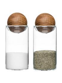 Mundgeblasene Salz- und Pfefferstreuer Eden mit Holzdeckel, 2er-Set, Behälter: Mundgeblasenes Glas, Verschluss: Eichenholz, Transparent, Eichenholz, Ø 5 x H 12 cm