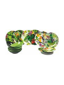 Komplet naczyń z porcelany Jungle, 18 elem., Wielobarwny, Komplet z różnymi rozmiarami