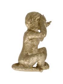 Deko-Objekt Monkey, Polyresin, Goldfarben, 15 x 15 cm