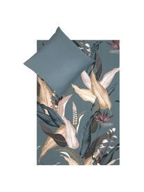 Baumwollsatin-Bettwäsche Flora in Petrol, Webart: Satin Fadendichte 210 TC,, Vorderseite: MehrfarbigRückseite: Petrol, 135 x 200 cm + 1 Kissen 80 x 80 cm
