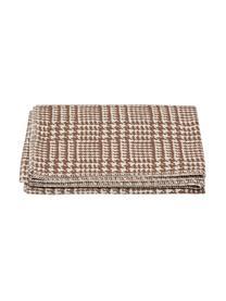 Plaid Glencheck mit Hahnentritt Muster, Bezug: 85% Baumwolle, 8% Viskose, Braun, Weiß, 145 x 220 cm