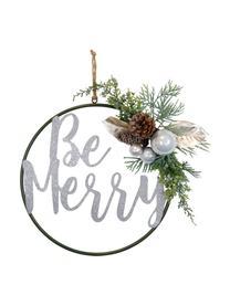 Deko-Anhänger Be Merry , Metall, Kunststoff, Zapfen, Grün, Braun, Weiß, Ø 36 cm