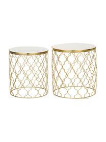 Marmor-Beistelltisch 2er-Set Blake, Tischplatten: Weißer MarmorGestelle: Goldfarben, Sondergrößen