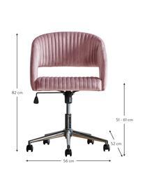 Samt-Bürodrehstuhl Murray, höhenverstellbar, Bezug: Polyestersamt, Beine: Metall, galvanisiert, Rollen: Kunststoff (Nylon), Rosa, B 56 x T 52 cm