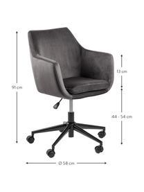Biurowe krzesło obrotowe z aksamitu Nora, Tapicerka: poliester (aksamit) 2500, Stelaż: metal malowany proszkowo, Ciemnyszary, czarny, S 58 x G 58 cm