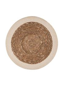 Manteles individuales redondos de seagrass Sauvage, 2uds., Seagrass, yute, Beige, blanco, Ø 38 cm
