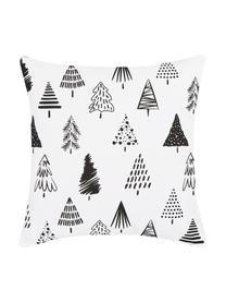 Kissenhülle Scandi mit Weihnachtsbäumen, Baumwolle, Weiß, Schwarz, 40 x 40 cm