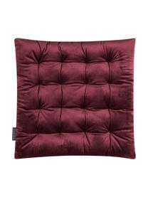 Cuscino reversibile Milana, velluto/velluto a coste, Retro: velluto a coste (90% poli, Vino rosso, Larg. 40 x Lung. 40 cm