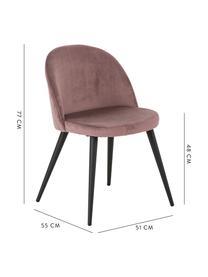 Moderne Samt-Polsterstühle Amy, 2 Stück, Bezug: Samt (Polyester) Der hoch, Beine: Metall, pulverbeschichtet, Rosa, B 51 x T 55 cm