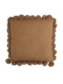 Cuscino con imbottitura e pompon Betta, Pesca, Larg. 45 x Lung. 45 cm