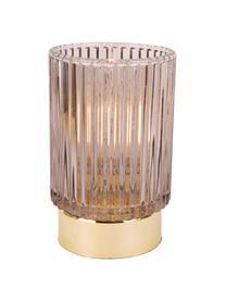 Portacandela a LED Ribbed, Vetro, Beige, Ø 9 x Alt. 13 cm