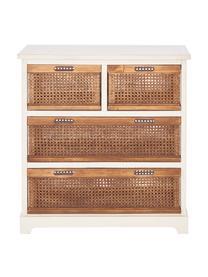 Schmale Rattan-Schubladenkommode Bantu, Korpus: Kiefernholz, cremeweiß la, Cremeweiß, Braun, 74 x 77 cm