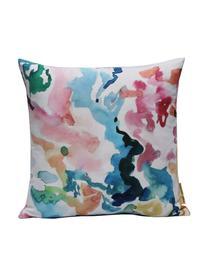 Bunte Kissenhülle Zuza mit Blumenprint in Aquarelloptik, 100% Polyester, Mehrfarbig, 40 x 40 cm