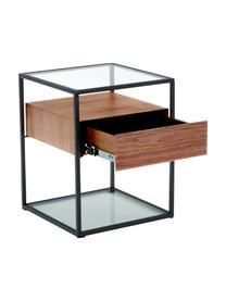 Beistelltisch Helix mit Schublade, Gestell: Metall, pulverbeschichtet, Sockel und Tischplatte: Glas, Transparent, Schwarz, Akazienholz, 45 x 54 cm