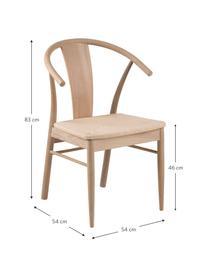 Holzstuhl Janik aus Eichenholz, Gestell: Eiche, weiß pigmentiert, Sitzfläche: Binsengeflecht, Beige, B 54 x T 54 cm