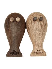 Designer-Deko-Objekt-Set Lovebirds, 2 tlg., Eichenholz, lackiert, Hellbraun, Dunkelbraun, 9 x 9 cm