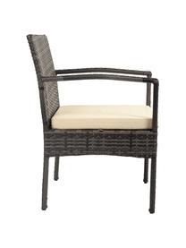 Set lounge de exterior Buni, 4pzas., Tapizado: tela, Tablero: vidrio tintado negro, Gris oscuro, Set de diferentes tamaños