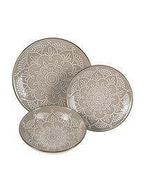 Geschirr-Set Baku mit Ornament-Relief, 6 Personen (18-tlg.), Keramik, Greige, Sondergrößen