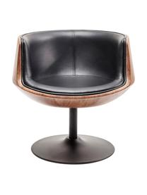 Drehstuhl Club im Retro-Design, Bezug: Kunstleder (100% Textil, , Sitzschale: Glasfaser, Walnuss mittel, Kunstleder Schwarz, B 62 x T 61 cm