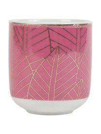 Espressobecher mit Bambusuntersetzer Orfe, 8er-Set, Becher: Porzellan, Untersetzer: Bambus, Mehrfarbig, Ø 6 x H 7 cm