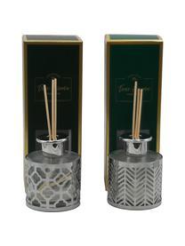 Diffuser Helion (Vanille), Metall, Glas, Duftöl, Stäbchen Holz, Silberfarben, Transparent, Ø 9 x H 24 cm