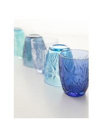 Set 6 bicchieri acqua con rilievo Pantelleria, Vetro, Tonalità blu, Ø 8 x 10 cm