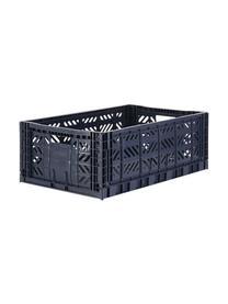 Cesto grande pieghevole e impilabile Navy, Materiale sintetico riciclato, Blu scuro, Larg. 60 x Alt. 22 cm