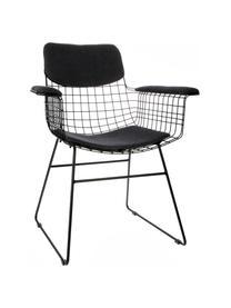 Zitkussenset voor metalen fauteuil Wire, 3-delig, Donkergrijs, Set met verschillende formaten