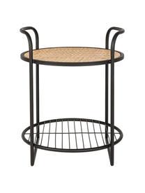 Tavolino con intreccio in rattan Elyot, Ripiano: acciaio verniciato a polv, Struttura: acciaio verniciato a polv, Marrone chiaro, nero, Larg. 42 x Prof. 41 cm