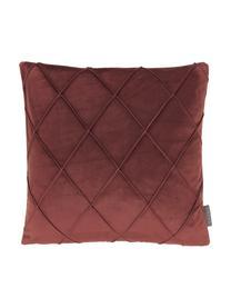 Federa arredo in velluto con motivo a rombi Nobless, 100% velluto di poliestere, Rosso terracotta, Larg. 40 x Lung. 40 cm
