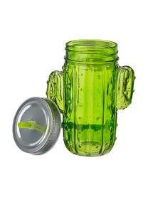 Trinkgläser Kaktus mit Deckel und Strohhalm, 2er-Set, Trinkglas: Glas, Deckel: Metall, Strohhalm: Kunststoff, Grüntöne, 12 x 15 cm