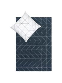 Baumwoll-Wendebettwäsche Marla mit grafischem Muster, Webart: Renforcé Fadendichte 144 , Navyblau, Weiß, 135 x 200 cm + 1 Kissen 80 x 80 cm