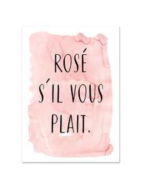 Poster S'il Vous Plait, Digitaldruck auf Papier, 200 g/m², Rosa, Schwarz, Weiß, 30 x 42 cm