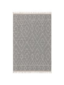 Ręcznie tkany dywan w stylu boho z bawełny z frędzlami Sydney, 60% bawełna, 40% wełna, Jasny szary, kremowy, S 160 x D 230 cm (Rozmiar M)