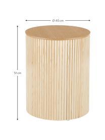 Holz-Beistelltisch Nele mit Stauraum, Mitteldichte Holzfaserplatte (MDF) mit Eschenholzfurnier, Eschenholzfurnier, Ø 40 x H 51 cm