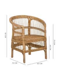 Rattan-Armlehnstuhl Palma, Rattan, Braun, B 60 x T 70 cm