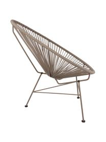 Loungefauteuil Bahia uit kunstvlechtwerk, Zitvlak: kunststof, Frame: gepoedercoat metaal, Zitvlak: taupe. Frame: taupe, B 81 x D 73 cm