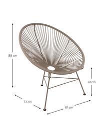 Fotel wypoczynkowy ze splotu z tworzywa sztucznego Bahia, Tworzywo sztuczne: taupe Stelaż: taupe, S 81 x G 73 cm