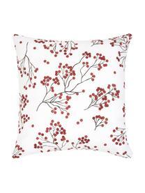 Federa arredo con rami invernali Berry, Cotone, Rosso, nero, bianco, Larg. 40 x Lung. 40 cm