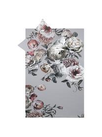Parure copripiumino in raso di cotone Blossom, Grigio, 155 x 200 cm + 1 federa 50 x 80 cm