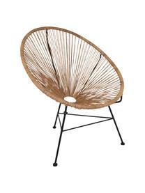 Loungefauteuil Bahia uit kunstvlechtwerk, Zitvlak: kunststof, Frame: gepoedercoat metaal, Zitvlak: beige. Frame: zwart, B 81 x D 73 cm