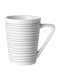 Teetassen Eris Loft mit Liniendekor, 4 Stück, Porzellan, Weiß, Schwarz, Ø 8 x H 10 cm