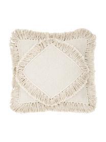Poszewka na poduszkę z frędzlami Kaheka, 100% bawełna, Ecru, S 45 x D 45 cm